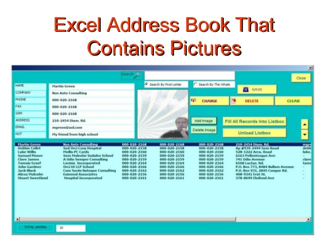 excel programming creating address book with image