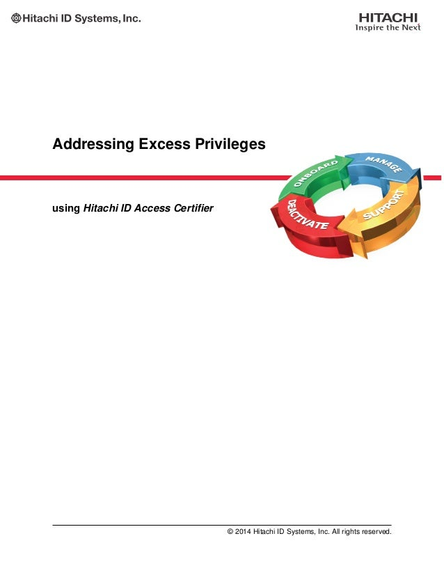 Addressing Excess Privileges using Hitachi ID Access Certifier © 2014 Hitachi ID Systems, Inc. All rights reserved.