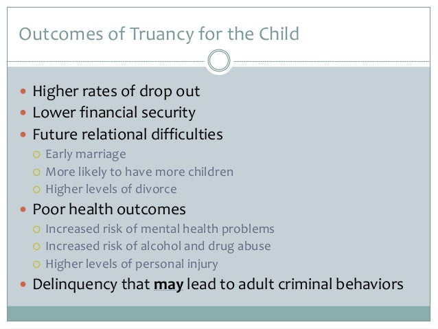 truancy problem in school essay 3 truancy program targets problems before they start children who continually miss school often are placed in the custody of social service agencies, a move that is traumatic.