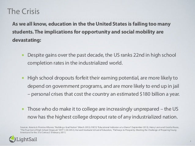 The Crisis As we all know, education in the the United States is failing too many students.The implications for opportunit...
