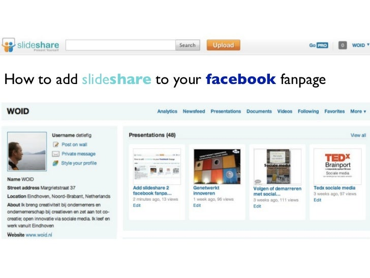 How to add slideshare to your facebook fanpage