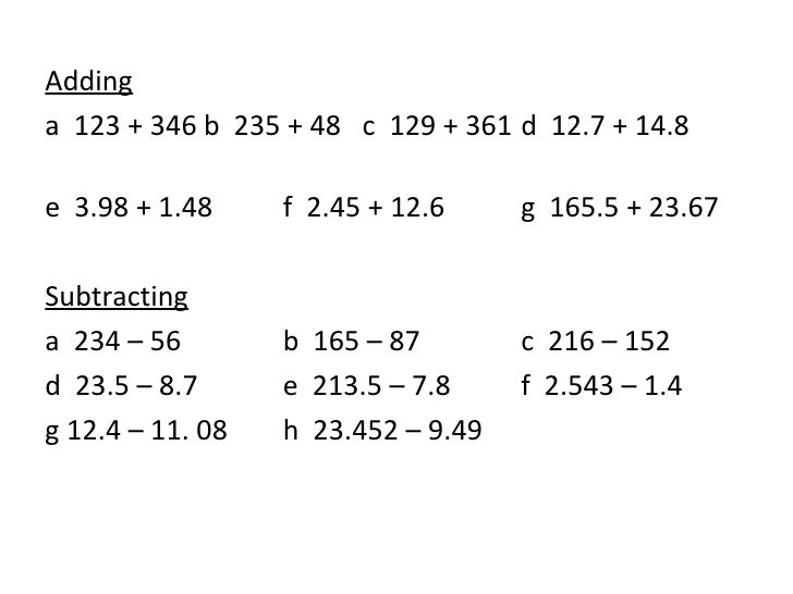Add Subtract Multiply Divide With Decimals