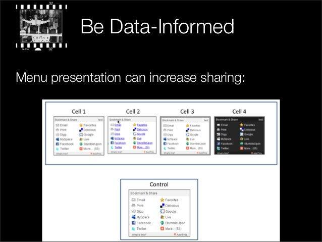 Menu presentation can increase sharing: Be Data-Informed