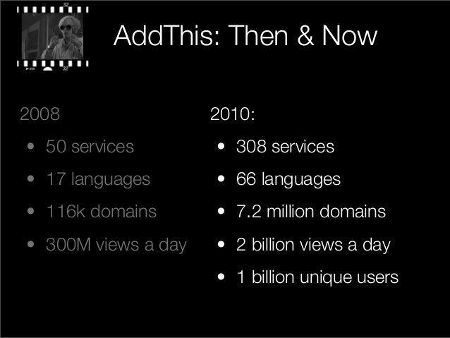 2010: • 308 services • 66 languages • 7.2 million domains • 2 billion views a day • 1 billion unique users 2008 • 50 servi...