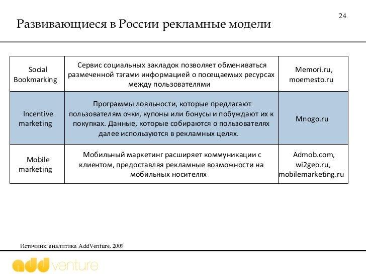 Развивающиеся в России рекламные модели Источник: аналитика  AddVenture, 2009 Social Bookmarking  Сервис социальных заклад...