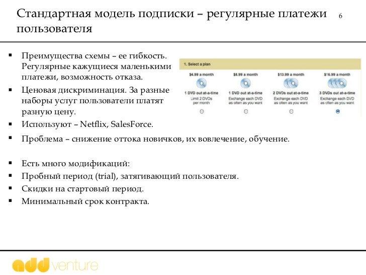 Стандартная модель подписки – регулярные платежи пользователя  <ul><li>Преимущества схемы – ее гибкость. Регулярные кажущи...