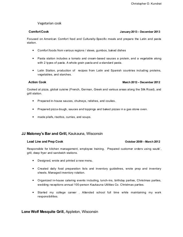 Prep Cook and Line Cook Resume Samples   Resume Genius