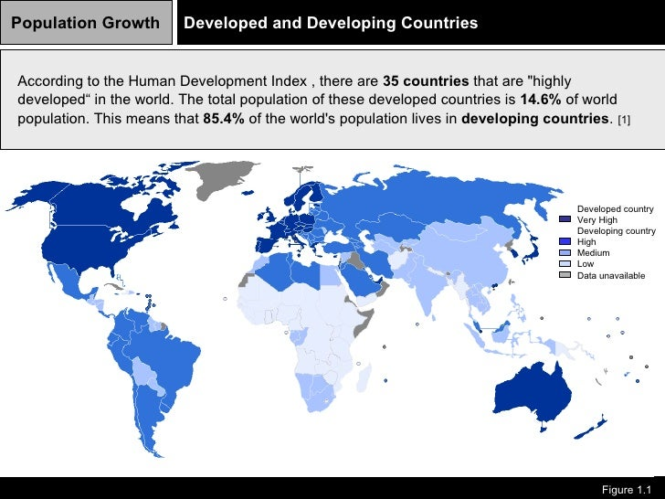 Population Growth Figure 1.1   Developed and Developing Countries  According to the Human Development Index , there are ...