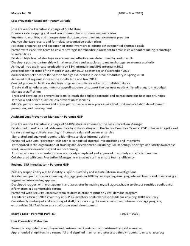 District loss prevention manager resume