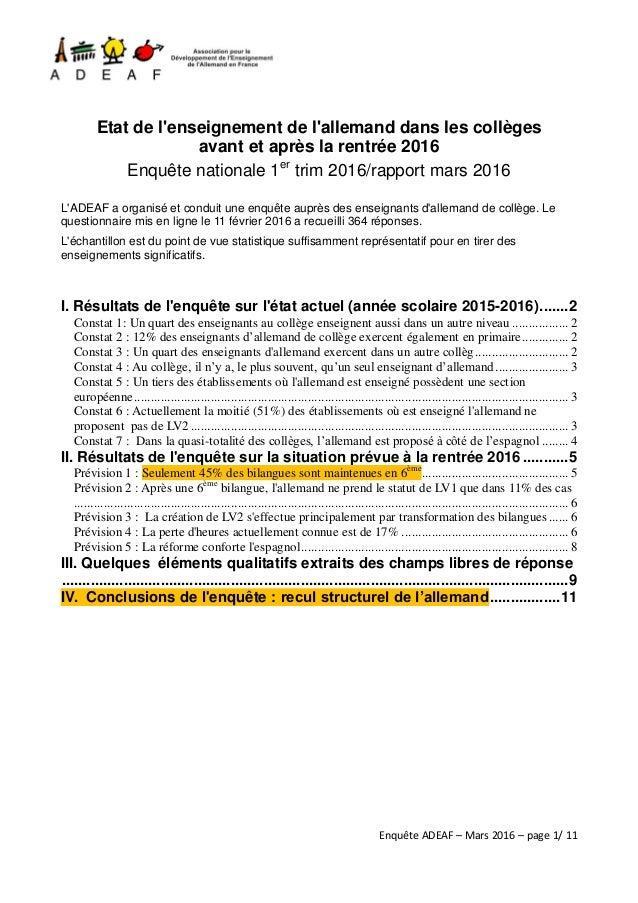 Enquête ADEAF – Mars 2016 – page 1/ 11 Etat de l'enseignement de l'allemand dans les collèges avant et après la rentrée 20...