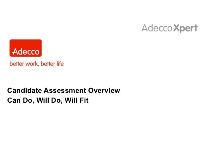 Candidate Assessment Overview Can Do, Will Do, Will Fit