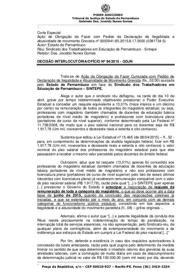 PODER JUDICIÁRIO Tribunal de Justiça do Estado de Pernambuco Gabinete Des. Jovaldo Nunes Gomes ___________________________...