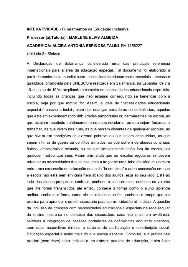 INTERATIVIDADE - Fundamentos da Educação Inclusiva  Professor (a)/Tutor(a) : MARLENE ELIAS ALMEIDA  ACADEMICA: ALCIRA ANTO...