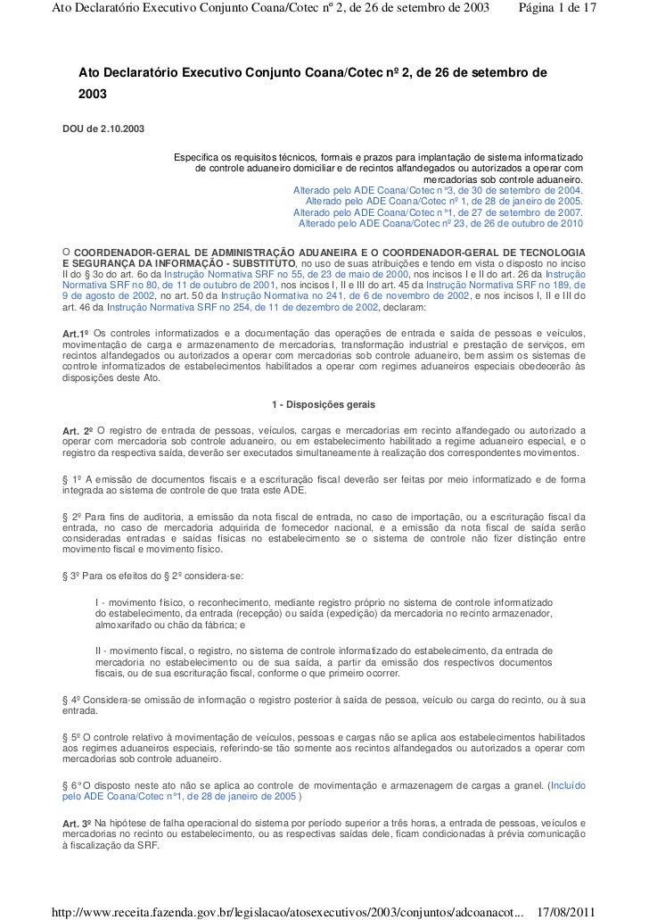 Ato Declaratório Executivo Conjunto Coana/Cotec nº 2, de 26 de setembro de 2003                           Página 1 de 17  ...