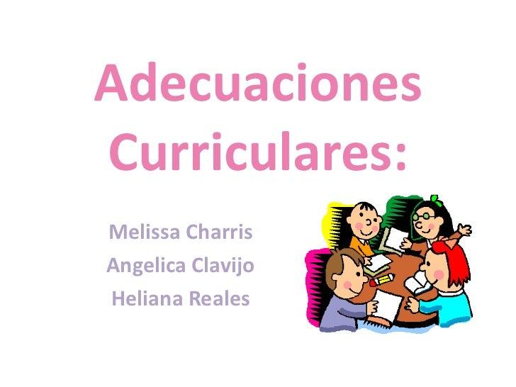 Adecuaciones Curriculares:<br />Melissa Charris<br />Angelica Clavijo<br />Heliana Reales<br />