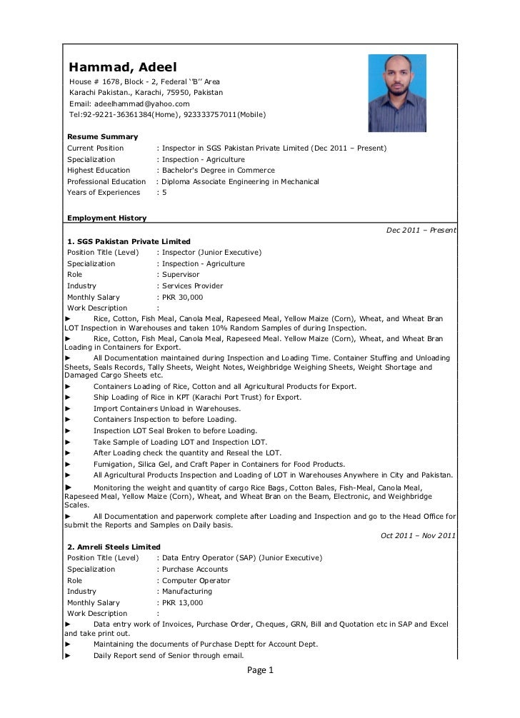 resume for oil and gas