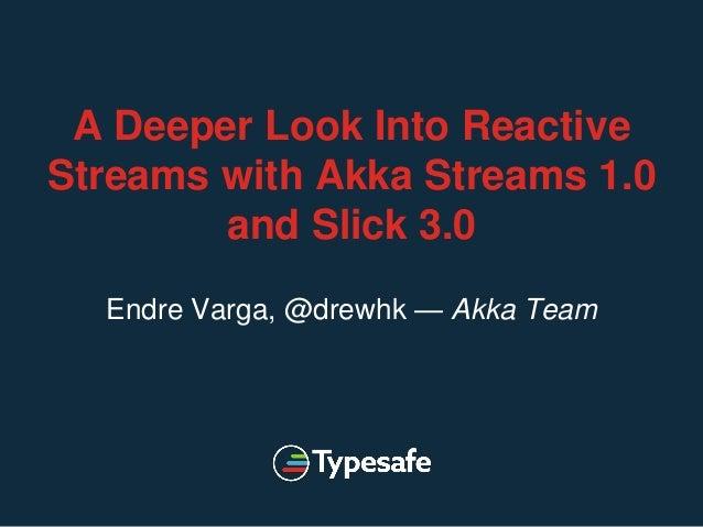 A Deeper Look Into Reactive Streams with Akka Streams 1.0 and Slick 3.0 Endre Varga, @drewhk — Akka Team
