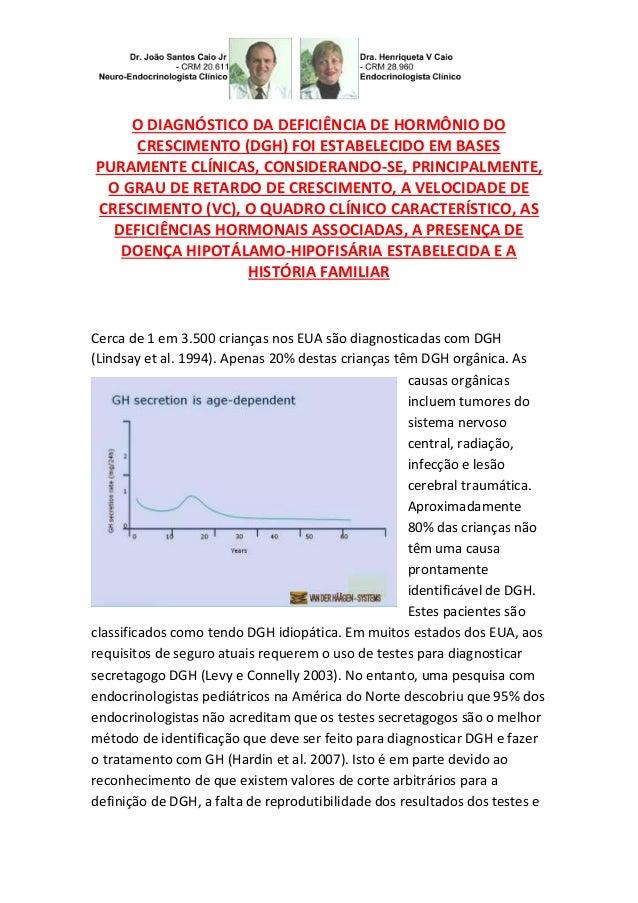 O DIAGNÓSTICO DA DEFICIÊNCIA DE HORMÔNIO DO CRESCIMENTO (DGH) FOI ESTABELECIDO EM BASES PURAMENTE CLÍNICAS, CONSIDERANDO-S...