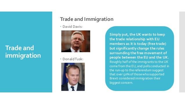 Trade and immigration Trade and Immigration – David Davis: – DonaldTusk: Simply put, the UK wants to keep the trade relati...