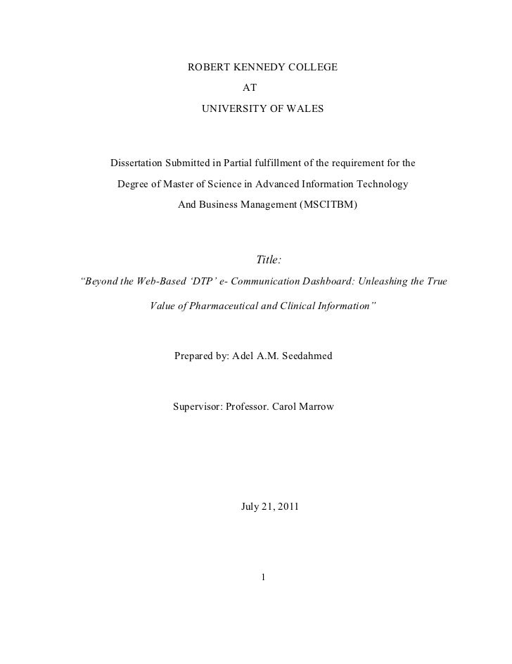 ROBERT KENNEDY COLLEGE                                     AT                           UNIVERSITY OF WALES      Dissertat...