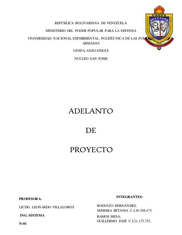REPÙBLICA BOLIVARIANA DE VENEZUELA MINISTERIO DEL PODER POPULAR PARA LA DEFENSA UNIVERSIDAD NACIONAL EXPERIMENTAL POLITÉCN...