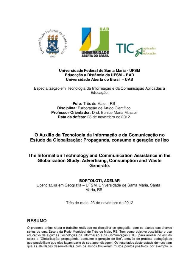 Universidade Federal de Santa Maria - UFSMEducação a Distância da UFSM – EADUniversidade Aberta do Brasil – UABEspecializa...