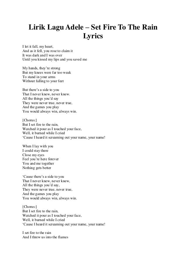 Adele - Set Fire To The Rain LYRICS! - YouTube