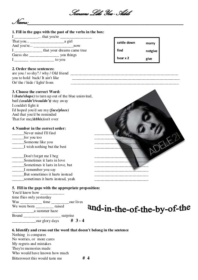 Adele worksheet someone like you