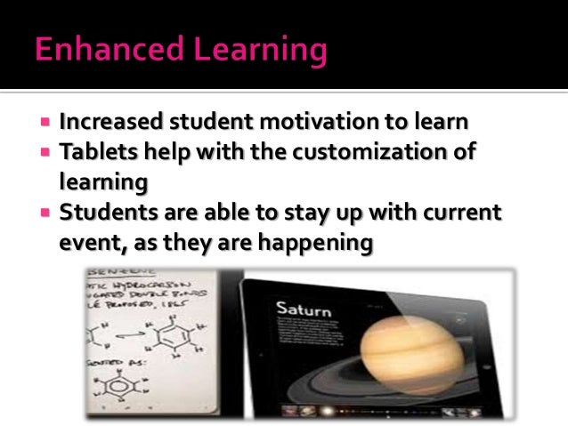  Increased student motivation to learn  Tablets help with the customization of learning  Students are able to stay up w...