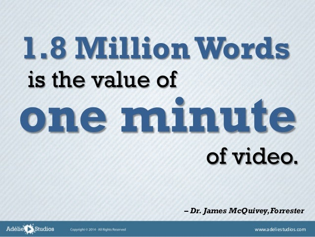 1.8 MillionWords one minute is the value of of video. – Dr. James McQuivey,Forrester www.adeliestudios.com