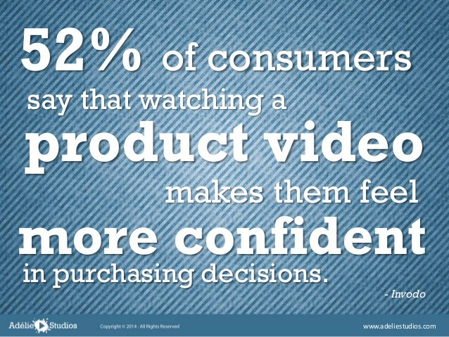 52% of consumers - Invodo in purchasing decisions. more confident makes them feel product video say that watching a www.ad...