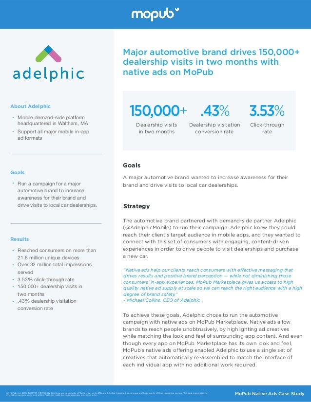 • Mobile demand-side platform headquartered in Waltham, MA  • Support all major mobile in-app  ad formats About Adelphic ...