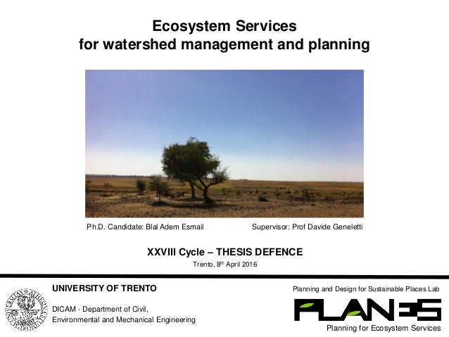 Ecosystem Services for watershed management and planning Planning for Ecosystem Services Planning and Design for Sustainab...
