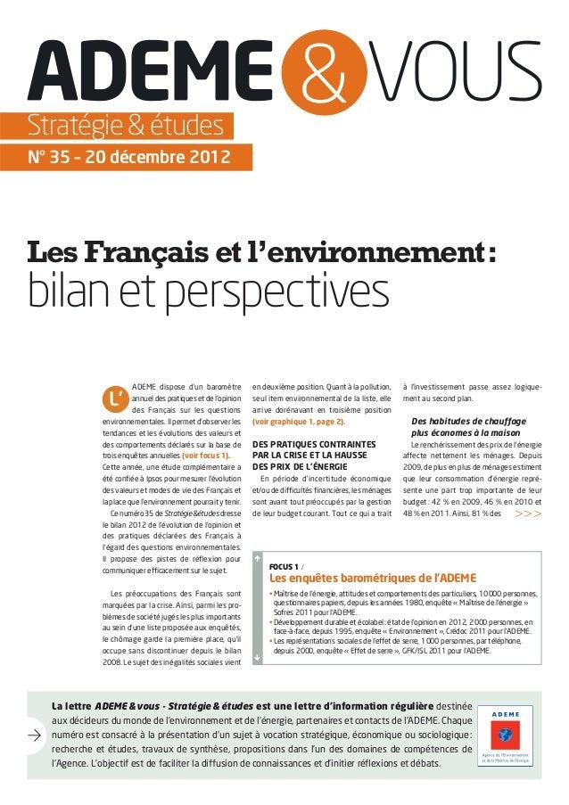 Stratégie & étudesN° 35 – 20 décembre 2012Les Français et l'environnement:bilan et perspectives                        ADE...