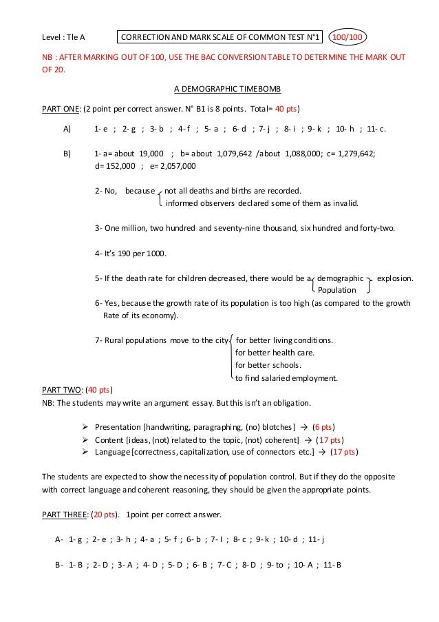 Level : Tle A CORRECTION AND MARK SCALE OF COMMON TEST N°1 100/100 NB : AFTER MARKING OUT OF 100, USE THE BAC CONVERSION T...