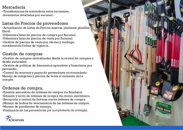 Adempiere erp retail non food spanish brochure for Essen proveedores