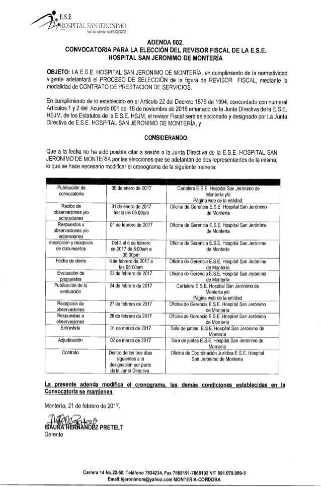 ADENDA 002 - Convocatoria para la elección del revisor Fiscal de la E.S.E Hospital San Jerónimo de Montería