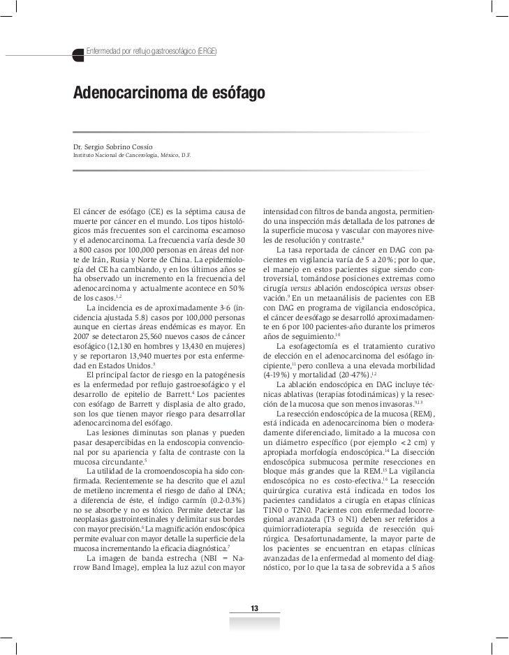 Enfermedad por reflujo gastroesofágico (ERGE)Adenocarcinoma de esófagoDr. Sergio Sobrino CossíoInstituto Nacional de Cance...