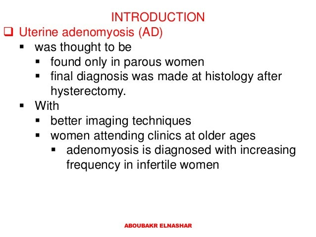 Adenomyosis associated infertility: Review of systematic reviews Slide 2