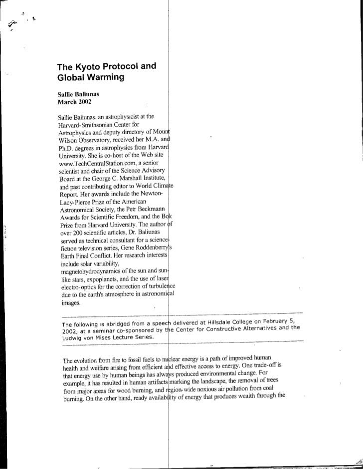 The Kyoto Protocol and Global Warming Sallie Baliunas March 2002  Sallie Baliunas. an astrophysicist at the Harvard- Smith...