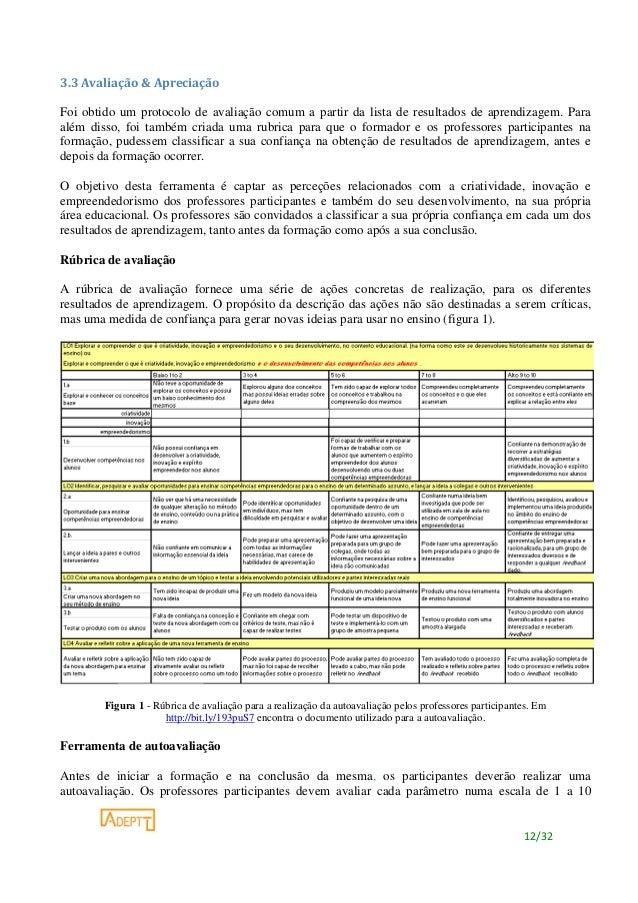 12/32 3.3 Avaliação & Apreciação Foi obtido um protocolo de avaliação comum a partir da lista de resultados de aprendizage...