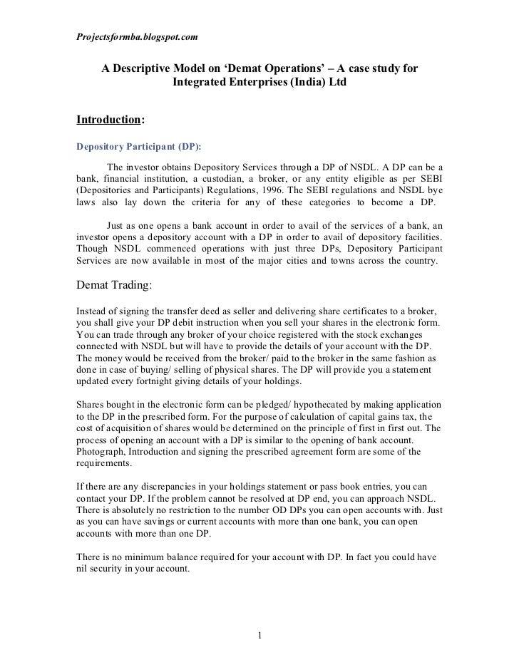 Projectsformba.blogspot.com      A Descriptive Model on 'Demat Operations' – A case study for                    Integrate...