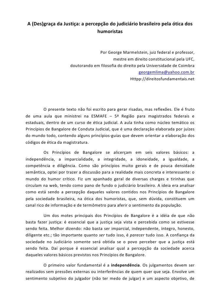 A (Des)graça da Justiça: a percepção do judiciário brasileiro pela ótica dos                                humoristas    ...