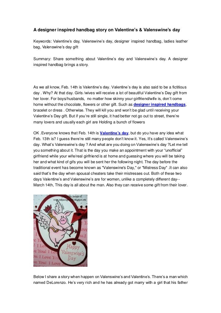A designer inspired handbag story on Valentine's & Valenswine's dayKeywords: Valentine's day, Valenswine's day, designer i...