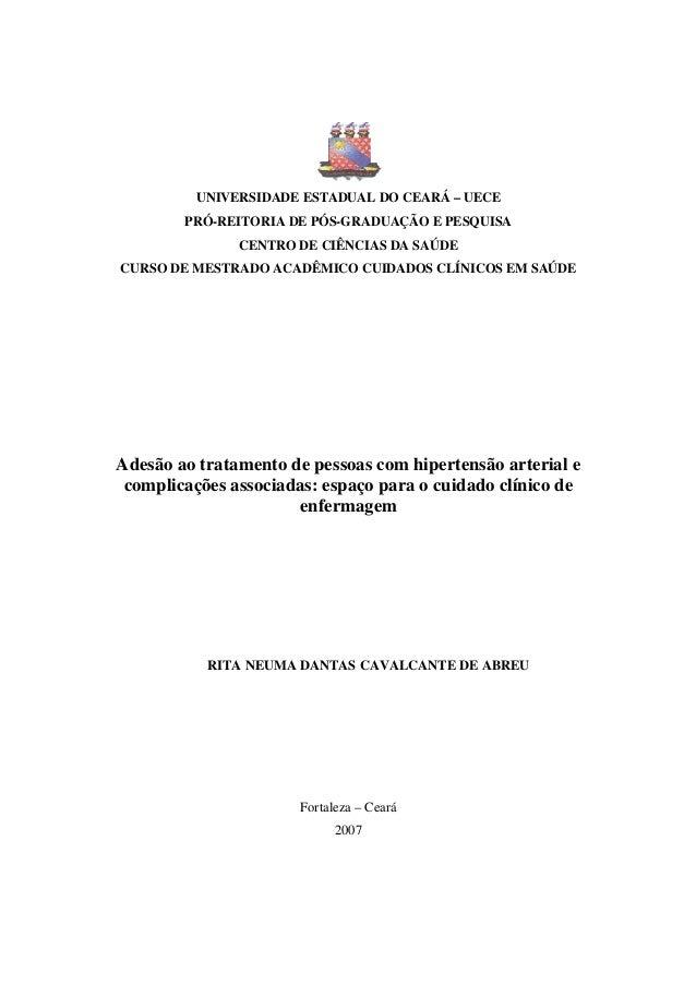UNIVERSIDADE ESTADUAL DO CEARÁ – UECEPRÓ-REITORIA DE PÓS-GRADUAÇÃO E PESQUISACENTRO DE CIÊNCIAS DA SAÚDECURSO DE MESTRADO ...