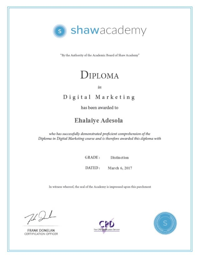 marketing certificate diploma digital shaw graphic social final assignment course slideshare academy score upcoming proprofs
