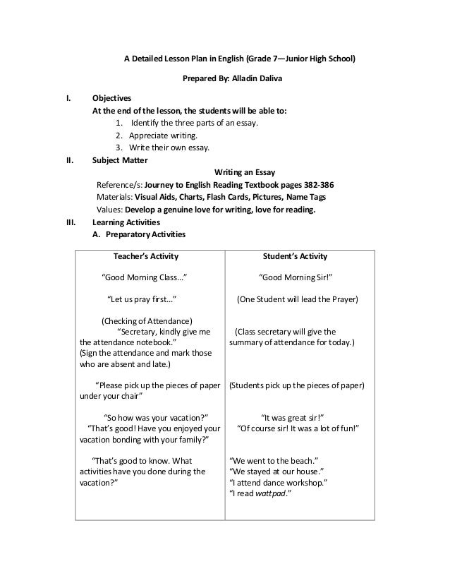 English Sample Lesson Plans