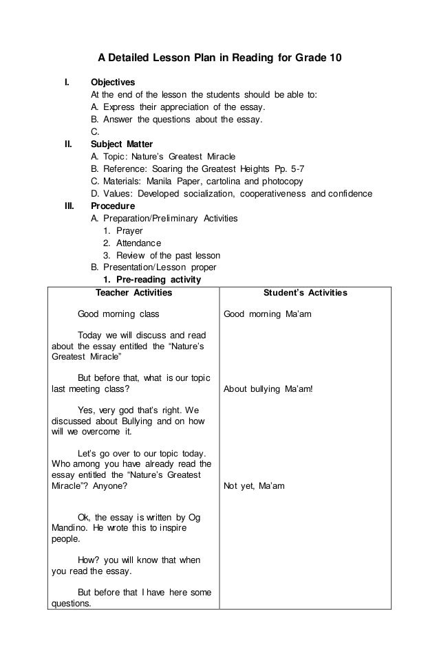 detailed lesson plan in tve essay You wouldn't write an essay before you do a fill-in-the-blank if you have time for two activities, all the better to make a lesson plan.