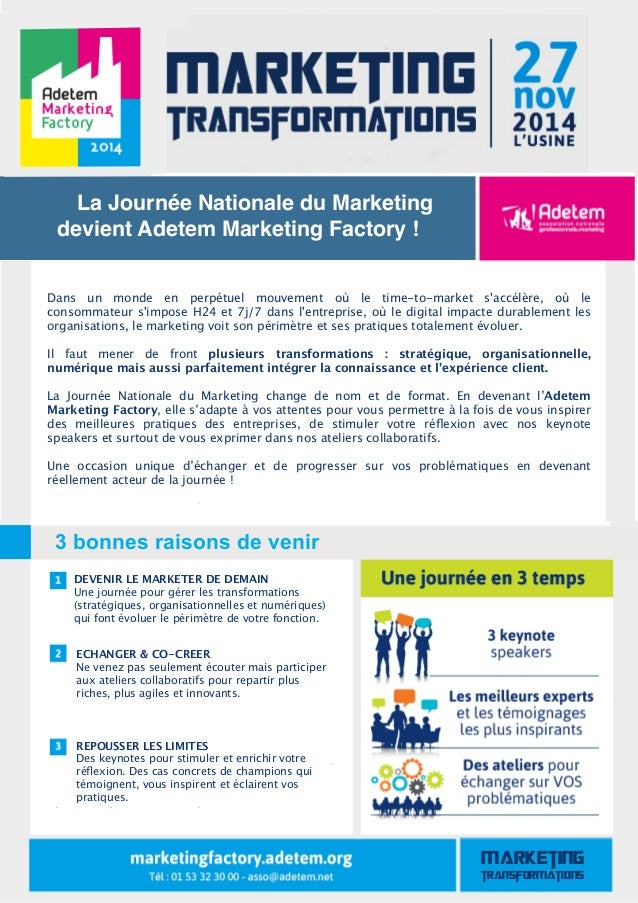 La Journée Nationale du Marketing  devient Adetem Marketing Factory !  Dans un monde en perpétuel mouvement où le time-to-...