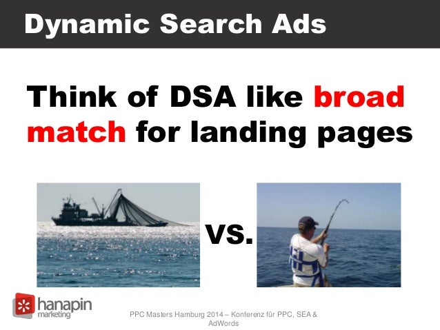 Dynamic Search Ads Think of DSA like broad match for landing pages VS. PPC Masters Hamburg 2014 – Konferenz für PPC, SEA &...